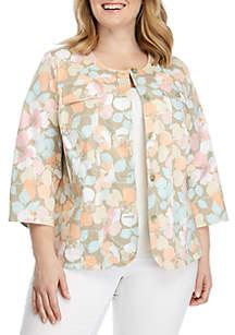Ruby Rd Plus Size Floral Cotton Tech Jacket