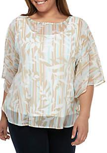 Ruby Rd Plus Size Stripe Butterfly Top
