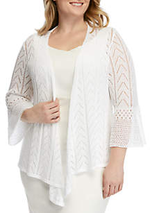 Ruby Rd Plus Size Coral Surf Pointelle Cardigan Sweater