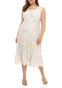 Ruby Rd Plus Size Sleeveless Garden Patch Burnout Dress