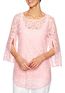 Ruby Rd Petite Coral Surf Tulip Sleeve Lace Top