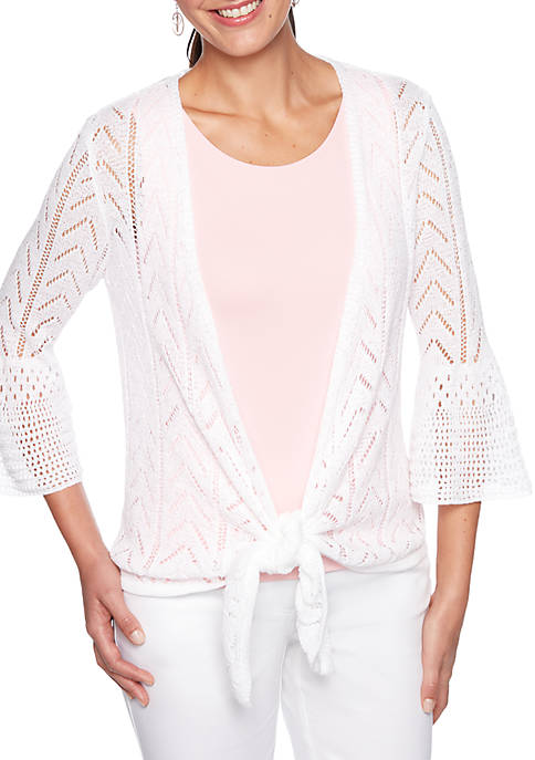 Petite Coral Surf Pointelle Cardigan with Tie Front
