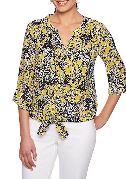 Tribe Vibes Floral Scroll Print Crepe Top