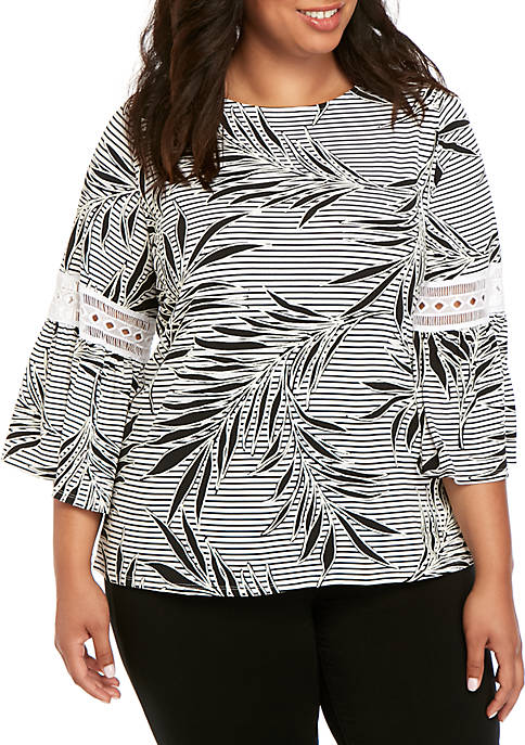 Plus Size Tribe Vibes Ballet Neck Tropical Puff Knit Top
