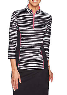 Ruby Rd To A Tee Quarter Zip Zebra Pullover