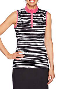 Ruby Rd To A Tee Sleeveless Wicked Digital Zebra Top