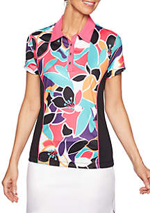 Ruby Rd To A Tee Wicking Color Block Floral Top