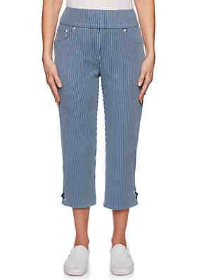 eb5a1553e3fe Ruby Rd Tried & True Pull On Engineered Stripe Capri Pants ...