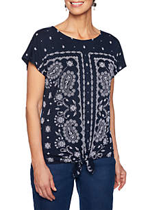 Ruby Rd Tried & True Print Tie Front Top