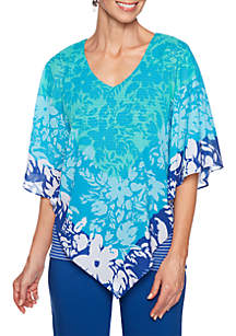 Ruby Rd Tropical Butterfly Top