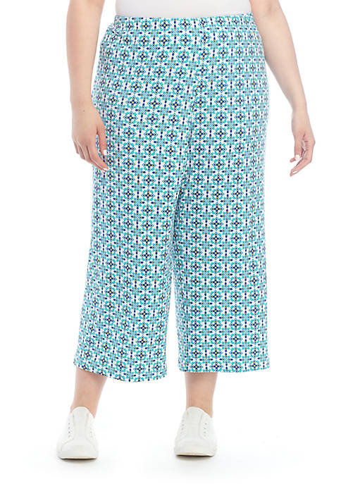 Plus Size Pull On Knit Culotte Pants