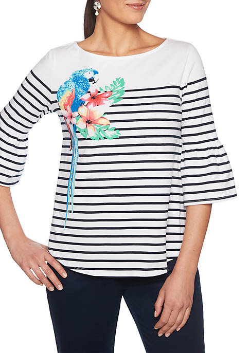 Tropical Punch Embroidered Boat Neck Stripe Top