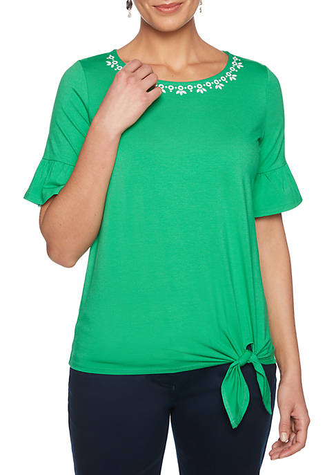 Embroidered Side Knit Tie Top