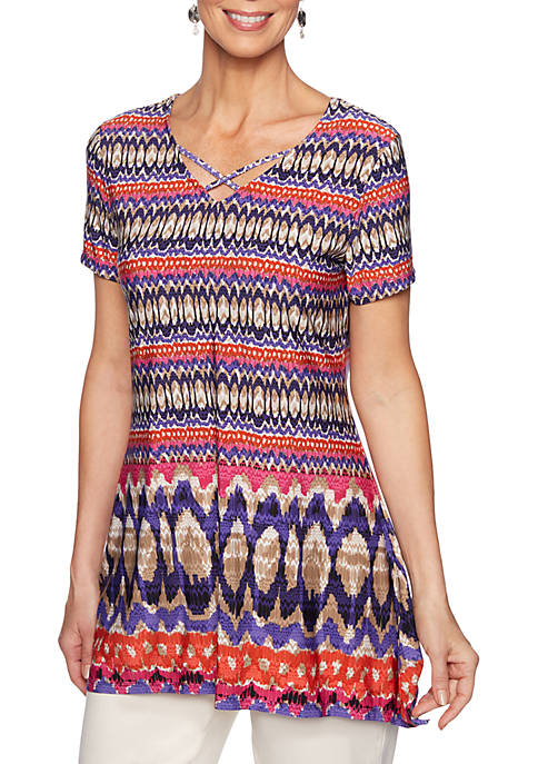 Ruby Rd Eastern Promise Ikat Geomatric Border Knit