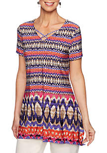 fa68691aac3a2 ... Ruby Rd Eastern Promise Ikat Geomatric Border Knit Top