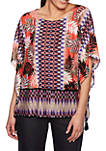 Eastern Promise Round Neck Ikat Leaves Top