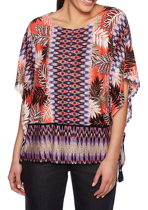 Ruby Rd Eastern Promise Round Neck Ikat Leaves