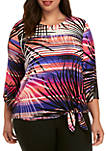 Plus Size Eastern Promise Scoop Neck Shadow Palm Print Tie Top