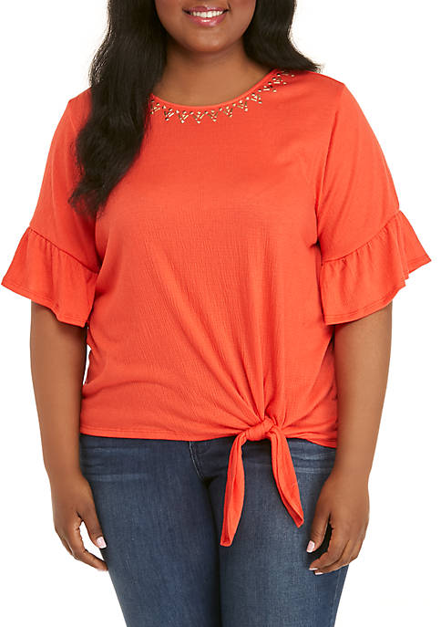 Plus Size Eastern Promise Embellished Scoop Neck Crinkle Gauze Top