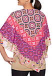 Petite Eastern Promise Medallion Scarf Print Top