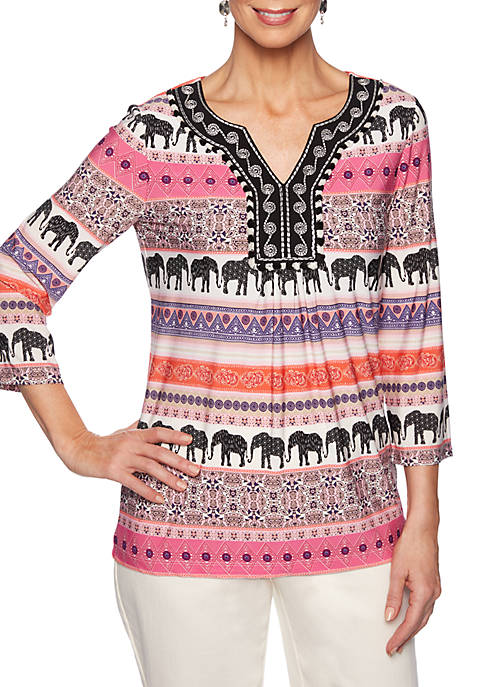 Petite Eastern Promise Elephant Border Knit Top