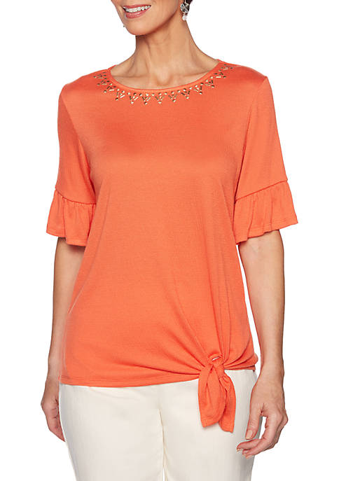 Ruby Rd Petite Eastern Promise Embroidered Neck Gauze