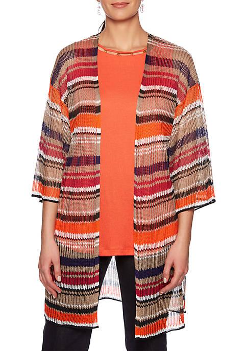 Petite Eastern Promise Multi Stripe Sweater Duster