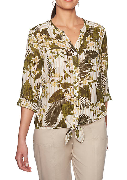 Lush Life Tropical Stripe Tie Front Top