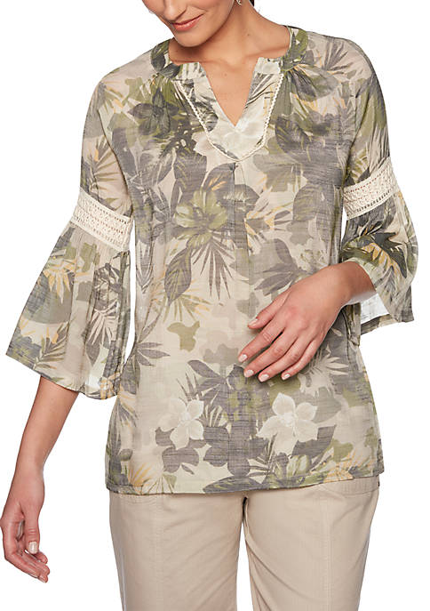 Ruby Rd Lush Life Camouflage Tropical Gauze Top
