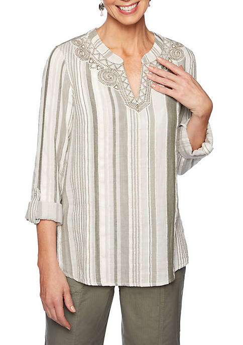 Lush Life Embroidered Gauze Vertical Stripe Top