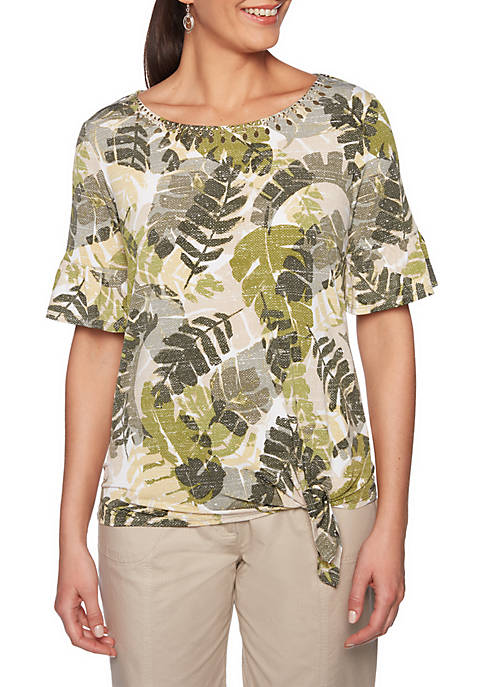 Lush Life Embellished Lush Leaves Print Knit Top