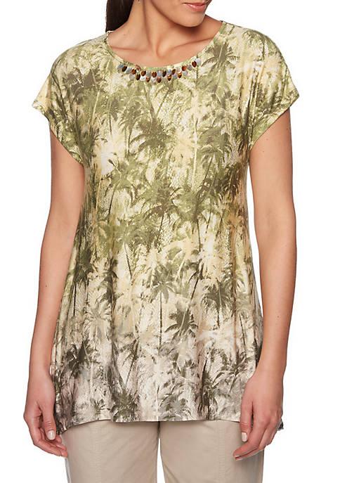 Ruby Rd Lush Life Palm Print Knit Top