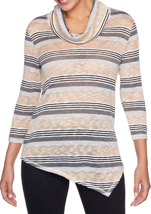 Womens Cowl Neck Marled Stripe Sweater