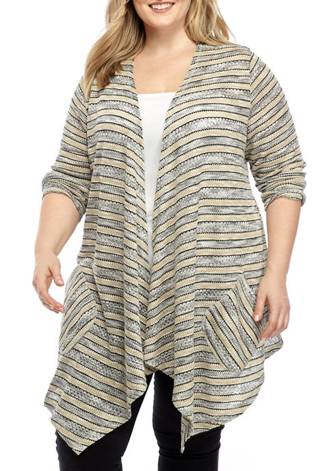 Plus Size Open Front Tuck Stitch Cardigan