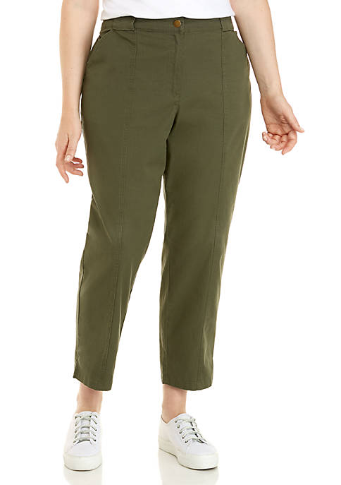 Plus Size Ripstop Ankle Pants with Slit Hem