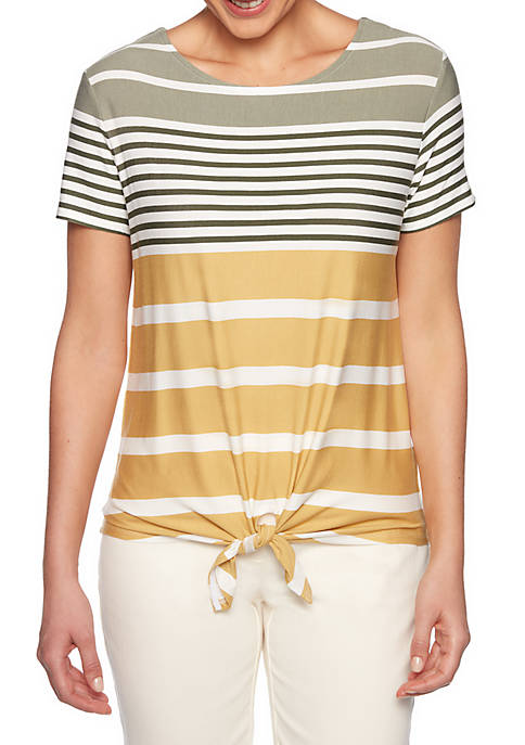 Ruby Rd Must Haves Multi Stripe Tie Front