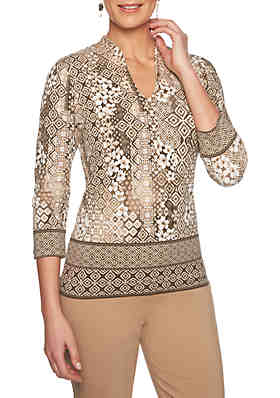 5325d43134 Ruby Rd Must Haves Border Print Top ...