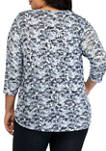 Plus Size Fresh Take Embroidered Watercolor Floral Print Hacci Top