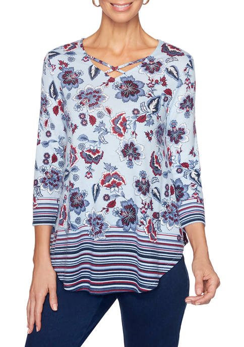 Ruby Rd Petite Fresh Take Cage Neck Floral