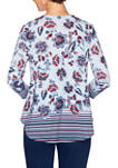 Petite Fresh Take Cage Neck Floral Border Print Top