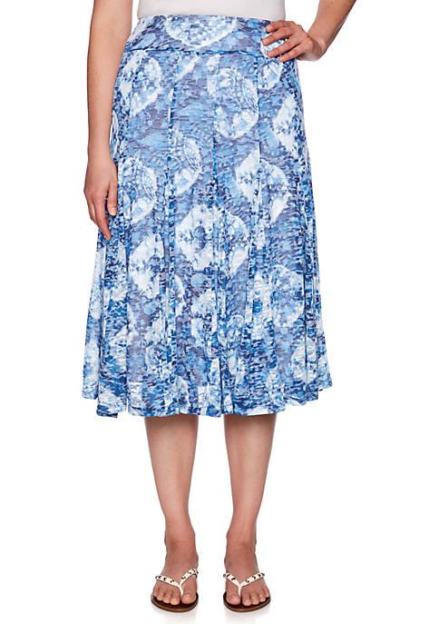 Sea Scene Burnout Tie Dye Paisley Knit Skirt