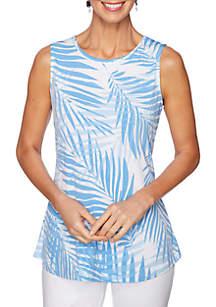 Ruby Rd Sea Scene Scoop Neck Palm Breeze Print Top