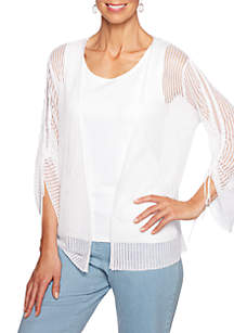 Ruby Rd Open Front Mesh Cardigan