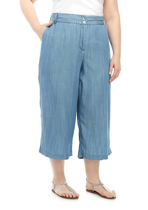 Plus Size Indigo Tencel Pants