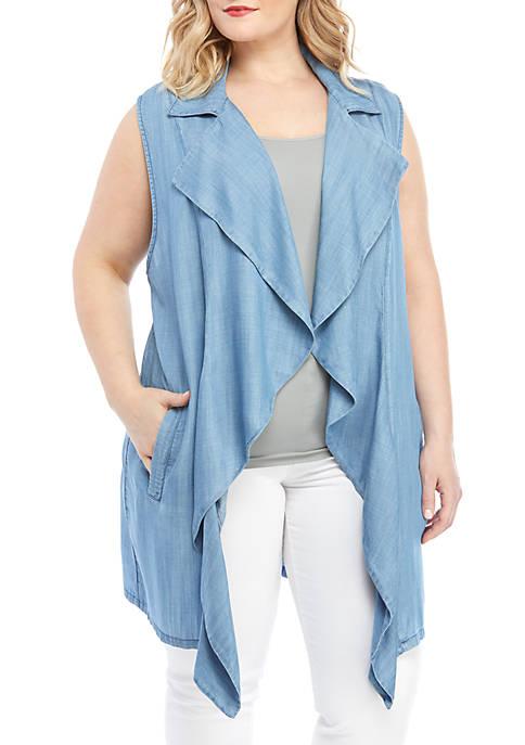 Plus Size Tencel Long Vest