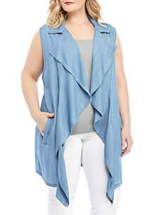 Ruby Rd Plus Size Tencel Long Vest