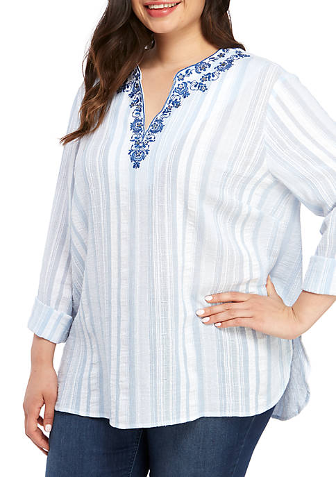 Ruby Rd Plus Size Embroidered Split Neck Stripe