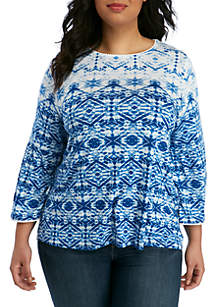 Ruby Rd Plus Size Waterfall Geometric Knit Top