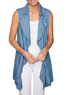 Sleeveless Indigo Tencel® Long Vest