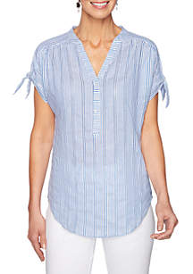 Ruby Rd Plus Size Short Sleeve Chambray Stripe T Shirt